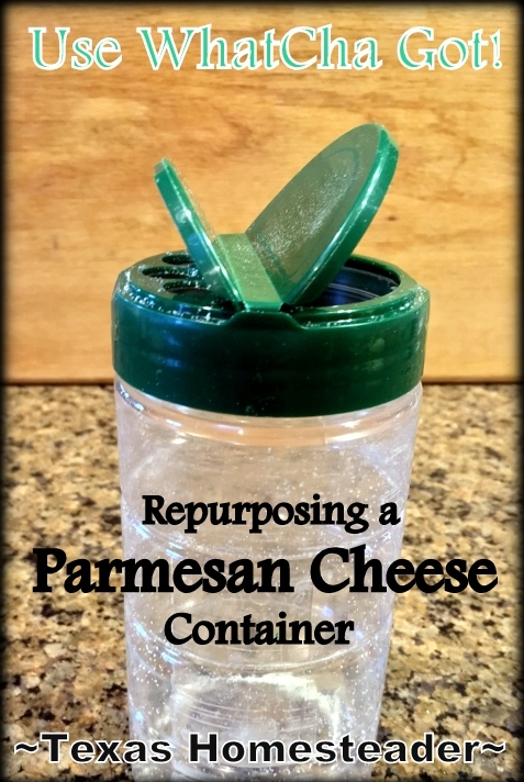 I place a repurposed parmesan cheese lid on a standard 1/2-pint canning jar. See how it simplifies my life in the kitchen. #TexasHomesteader