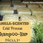 Vanilla Shampoo Bars. Top 10 Homesteading Posts of 2016 - Saving money, Homemade Soap Recipes, DIY Face Powder, Canning Jar Storage Solution & MORE! #TexasHomesteader
