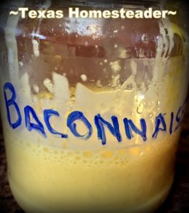Label Jar With Sharpie Pen. I've made our mayonnaise homemade for a long time but recently got to thinking... BACON! Now I almost always make Baconnaise! #TexasHomesteader