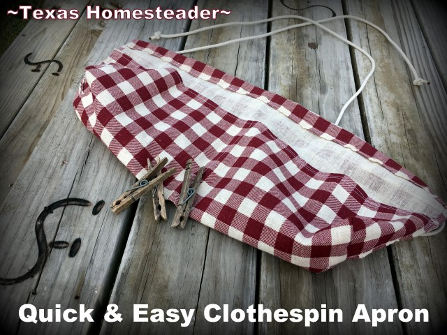 Clothespin Apron for hanging laundry on the line - gingham cloth #TexasHomesteader