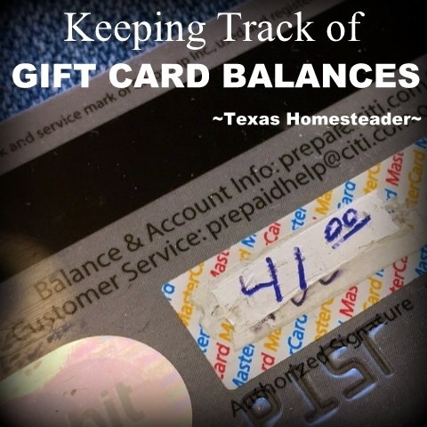 Did you ever look at one of your gift cards & wonder how much value was left on the card. Come check out our Homestead Hack. #TexasHomesteader