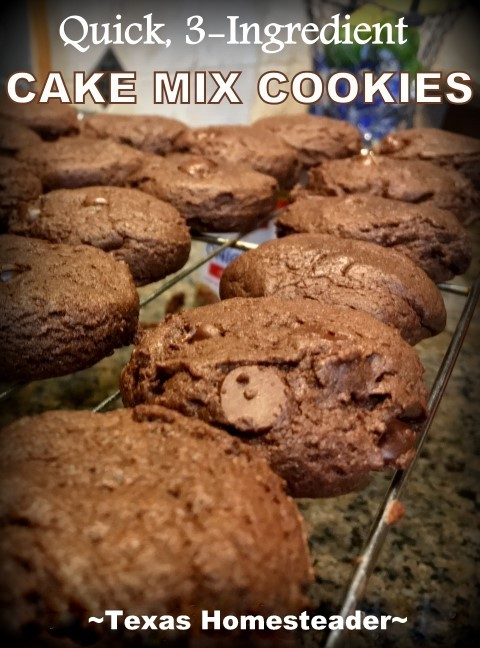 If you find yourself needing cookies in a flash try cake mix cookies. Only 3 ingredients: 1 Box of Cake Mix, 1 Stick of Butter, 1 Egg! #TexasHomesteader