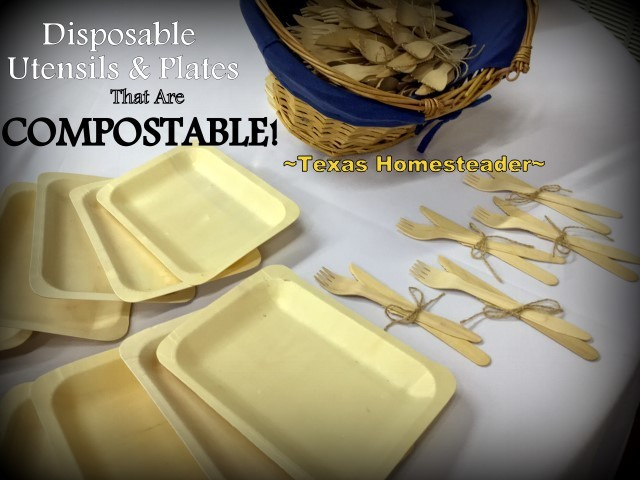 Compostable Utensils? YES! These waxed utensils are inexpensive and fully compostable. Used for backyard BBQ's & weddings! #TexasHomesteader