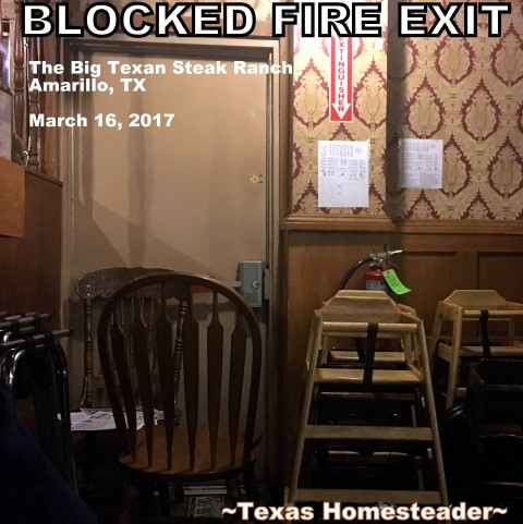 A Blocked Fire Exit? Wherever you are, in any restaurant - if you SEE something SAY SOMETHING! The Life You Save Could Be Yours! #TexasHomesteader