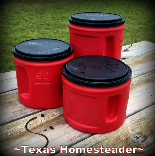 Using Empty Coffee Canisters in handy ways. #TexasHomesteader