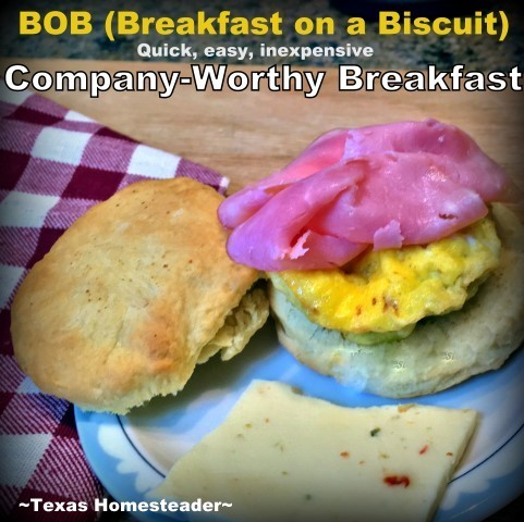 BOB, or Breakfast on a Biscuit - is a quick company-worthy breakfast of scrambled eggs, thinly-sliced ham & cheese on a biscuit. #TexasHomesteader