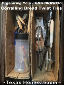 Is your junk drawer cluttered? What to do with all those plastic-coated bread twist ties? Check out this easy storage solution #TexasHomesteader