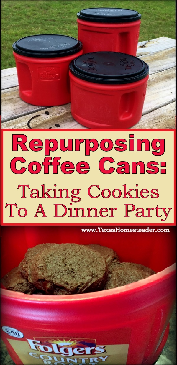 Repurposing empty coffee cans to bring food to a covered-dish dinner party #TexasHomesteader