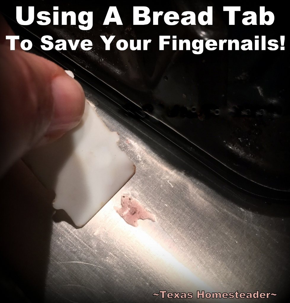 Do you use your fingernails to dislodge a splatter? Check out this easy Homestead Hack on saving your fingernails when cleaning. #TexasHomesteader