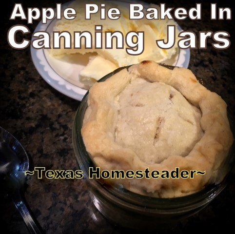Single-Serving Apple Pies baked in individual wide-mouth canning jars. They were delicious and oh-so-cute! #TexasHomesteader