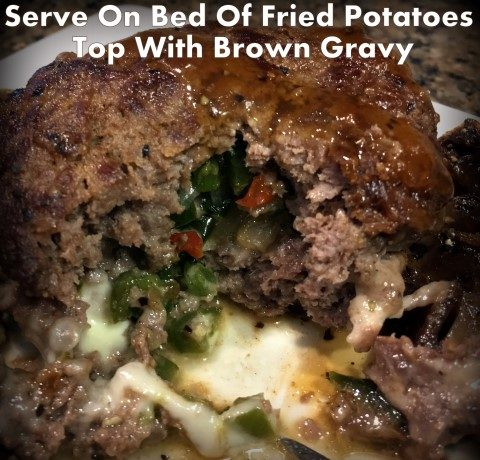 Poor-Man's Steak - a thick serving of ground meat stuffed with grilled onions & peppers along with melted cheese. It's often served on top of fried potatoes & topped with brown gravy. #TexasHomesteader