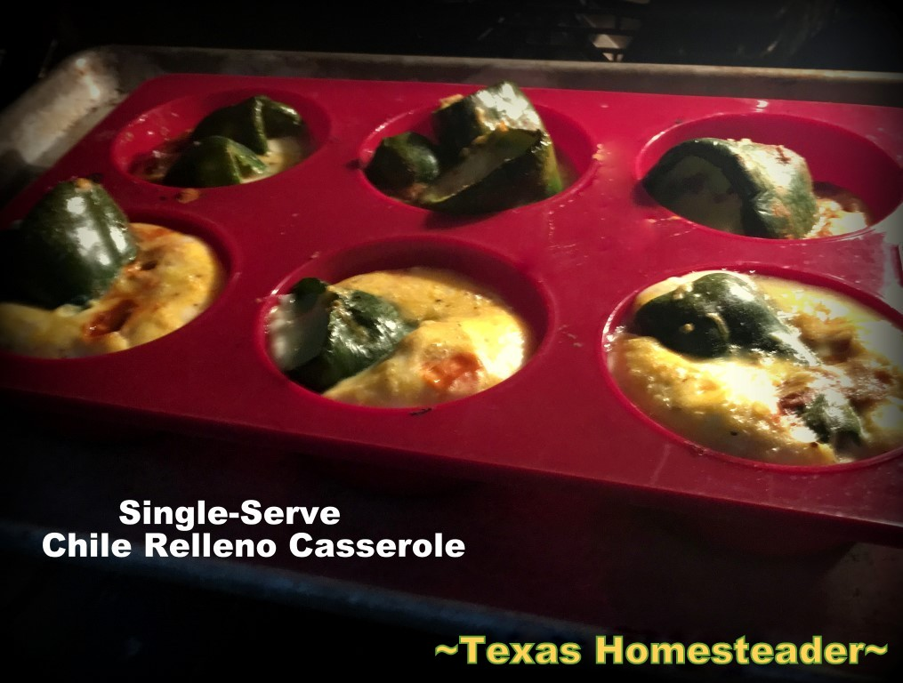 I love chile relleno, but it's more work in the kitchen than I want. Come see my lazy cook's version of chile relleno, baked into single-serve cups! #TexasHomesteader