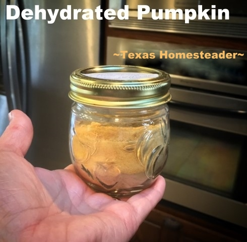 Come see how to rehydrate and use dehydrated pumpkin puree. Dehydrated Pumpkin puree stores in the pantry with no additional energy needed - a wonderful preparedness food! #TexasHomesteader