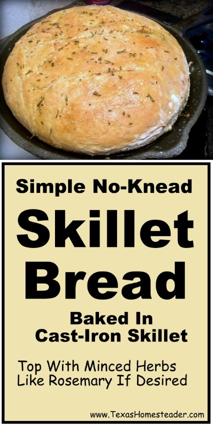 This Easy Rosemary Skillet Bread Recipe is delicious no-knead bread baked in a cast iron skillet & seasoned with fresh rosemary. #TexasHomesteader