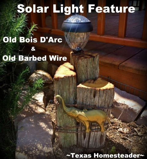 Solar Light Feature made with Bois d'Arc wood. Here's a list of homemade Christmas gift ideas. Don't wait - get started NOW for a homemade Christmas you and your family will LOVE! #TexasHomesteader