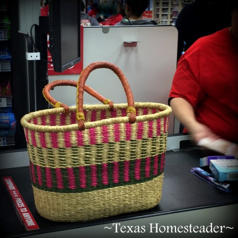 Basket when shopping eliminates plastic bags. I love my open-top basket. But will I use it as much as I think I would? Recently we took a traveling day-trip & it was used once again #TexasHomesteader