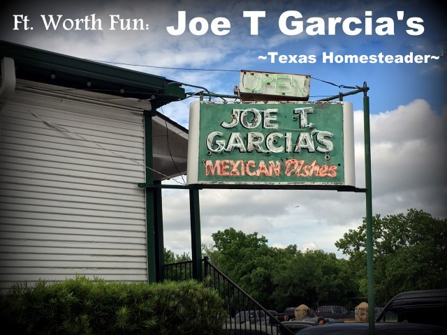 Joe T Garcia's Mexican Restaurant. We took a vacation in Ft. Worth, Texas. I've lived in the Dallas area most of my life, so of course I've been to Ft. Worth many times. But it was always to drive to a specific location or event, never to stay & play. Now this is gonna be fun! #TexasHomesteader