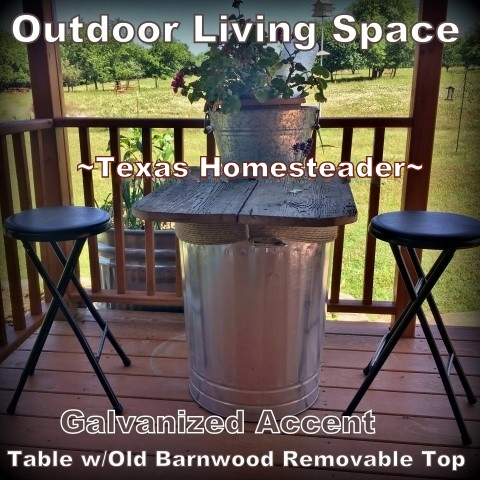 Adding table & chairs on the back porch. We wanted an outdoor living space added to our back porch. Come see some of the things we added to make it our own little oasis. #TexasHomesteader