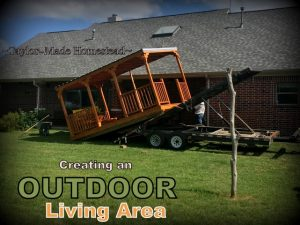We wanted an outdoor living space added to our back porch. Come see some of the things we added to make it our own little oasis. Delivering pre-made porch addition. #TexasHomesteader