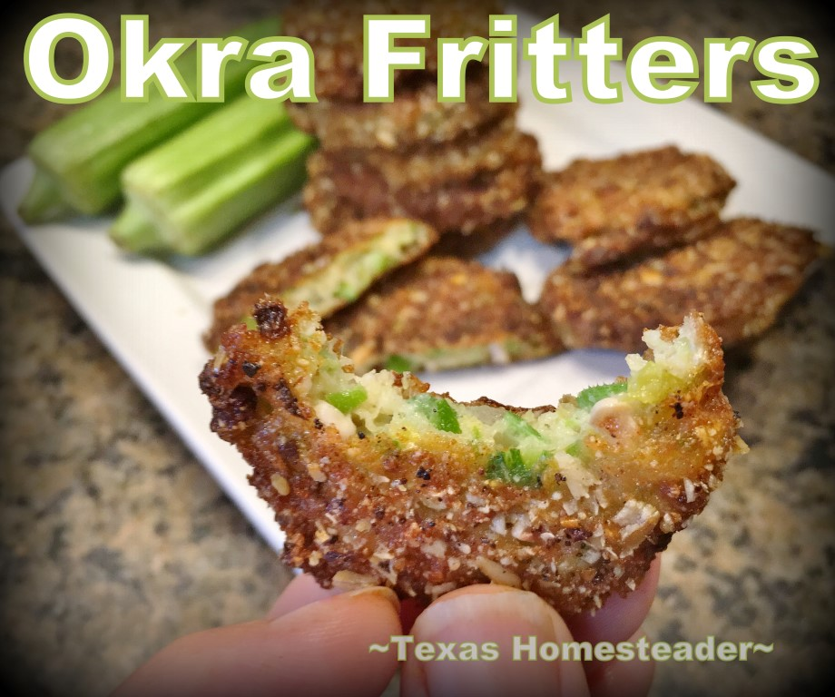 A friend shared a bag of fresh okra from her garden. She also shared a recipe for Okra Fritters. They were delicious! Check it out. #TexasHomesteader