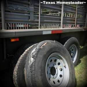 Blown tire on cattle trailer. Did you ever wonder what a day on the homestead was like? Join me to see what tasks are on tap at our N.E. Texas Homestead. #TexasHomesteader