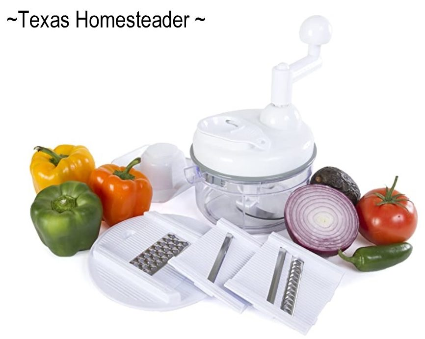 Food chopper with special rounded blade quickly chops onions, peppers and more finely enough even for pico de gallo. #TexasHomesteader