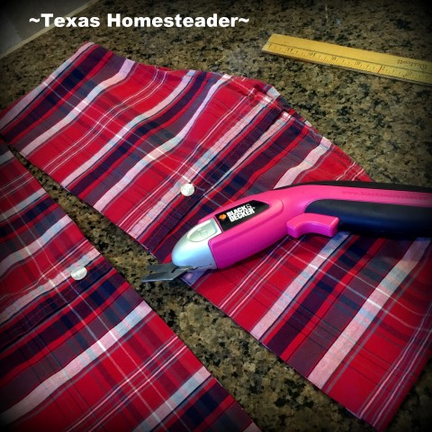 I made some cute decorative throw pillows for our guest bedroom from repurposed flannel shirts. And they store our spare sheets! #TexasHomesteader