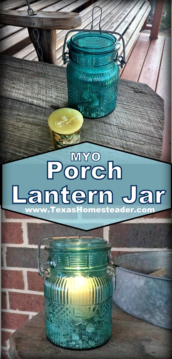 I used an old broken flip-top bail-top jar, some gravel and a small votive candle to make the cutest porch lantern ever. Come see! #TexasHomesteader