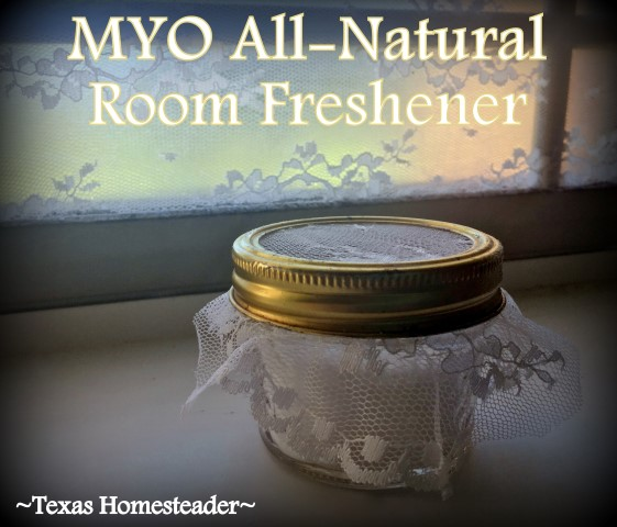 I don't want artificial air fresheners & scented candles in our home. So I easily made my own air freshener with baking soda, essential oil, a repurposed canning jar & leftover lace #TexasHomesteader