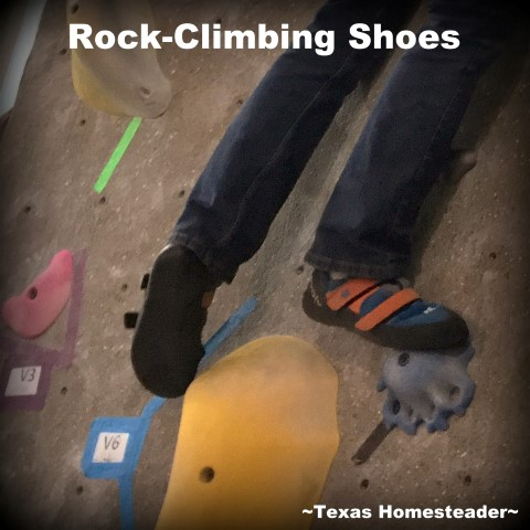 Rock climbing shoes. Experience Gift: Rock climbing. We gifted all four of our grandchildren this experience gift for Christmas and we all had a blast! #TexasHomesteader
