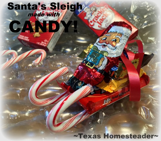 You can make a cute Santa sleigh using candy canes and candy bars. A cute gift for kids, teachers, or anyone else! #TexasHomesteader