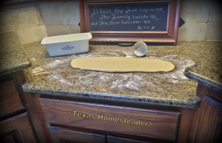 Bread dough. My favorite feature in my homestead kitchen is my drop-level countertop. It makes the task of kneading bread so much easier! #TexasHomesteader