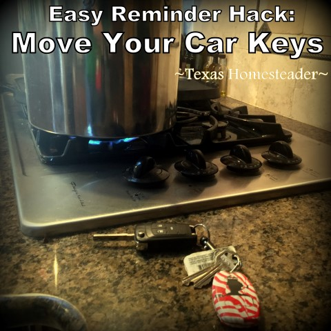 Jog your memory by moving your car keys. #TexasHomesteader