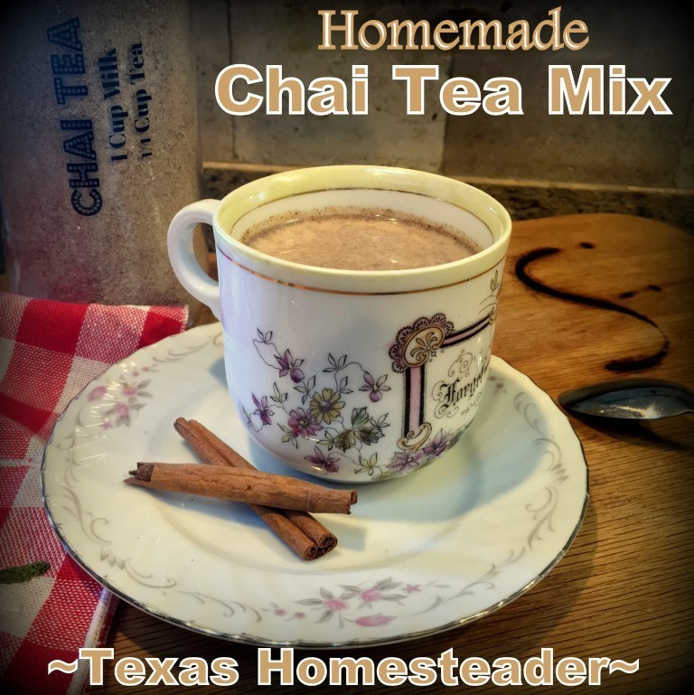 Hot Chai Tea is comforting on a chilly day. This chai tea mix is quick and easy to mix up. Store it in the pantry in a repurposed glass jar #TexasHomesteader