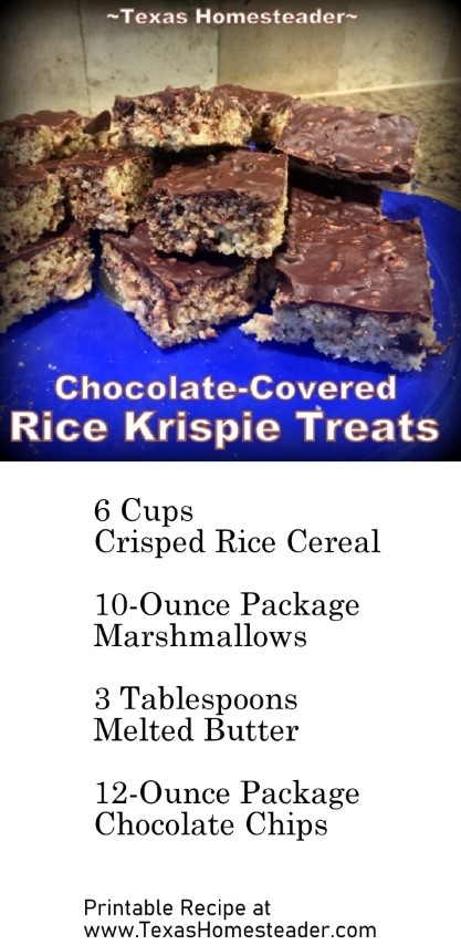Rice Krispies - crisped rice cereal mixed with melted marshmallows and topped with melted chocolate. #TexasHomesteader