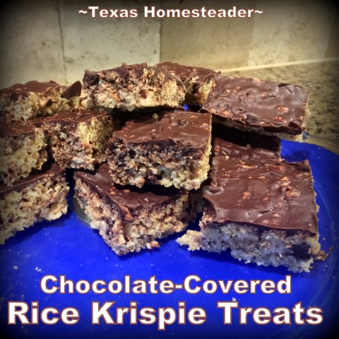 I made Rice Krispie Treats, with a (chocolate) twist. The addition of chocolate takes these crisped rice treats to a whole new level! #TexasHomesteader