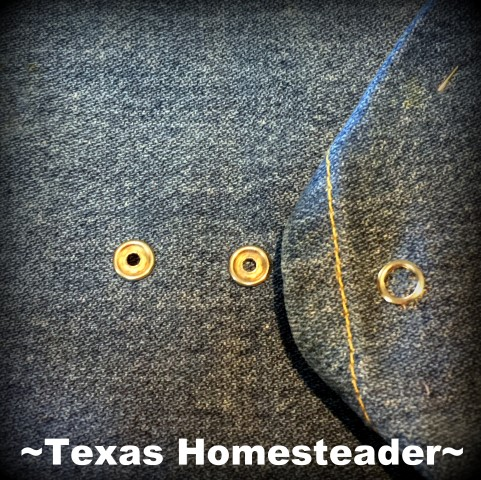 Denim dish carrier will fit two sizes covered dish because of double snaps. #TexasHomesteader