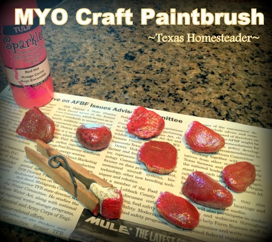I needed a small craft paintbrush so I fashioned one in seconds using a piece of repurposed scrap cloth and a clothespin. #TexasHomesteader