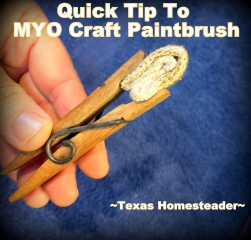 I'm painting rocks to look like strawberries to trick the bird. So I made this quick craft paintbrush with a clothespin and a scrap of fabric. #TexasHomesteader