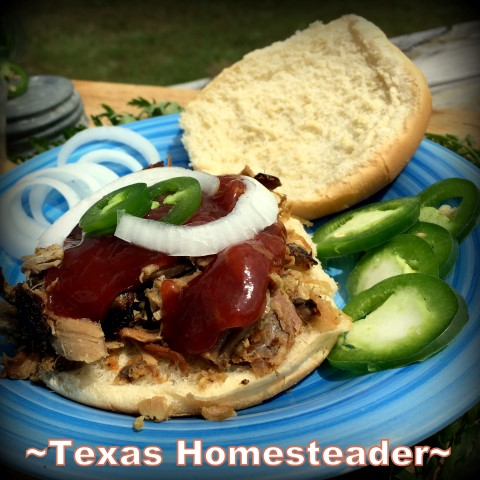 Pecan Wood Smoked Pork Meat - pulled pork BBQ Sandwich #TexasHomesteader