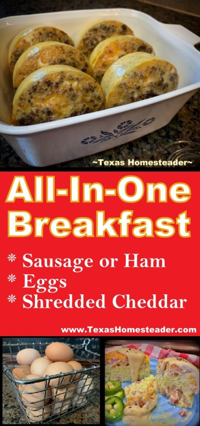 3-Ingredient All-In-One Breakfast. Sausage or ham, eggs and shredded cheddar cheese. #TexasHomesteader