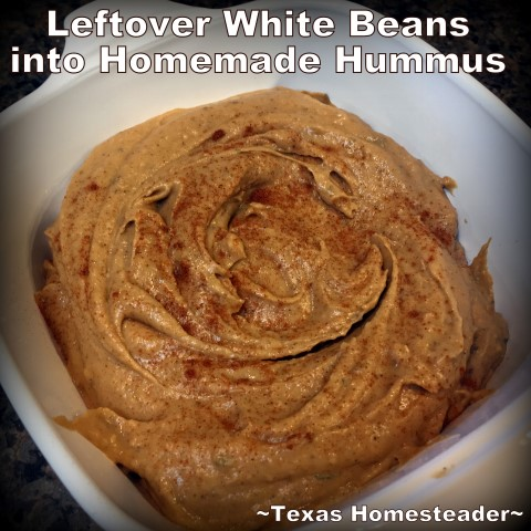 Do you have leftover white beans that are leaving your family bored? Why not turn them into leftovers that are FUN to eat? Homemade Hummus! #TexasHomesteader