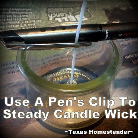 Using a pen clip to steady candle wick. It's easy to make your own natural beeswax jar candles. It's fun, it's easy, and it's natural. And who doesn't love a beeswax candle?? #TexasHomesteader