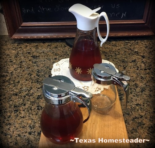 I needed a way to measure small amounts of honey each day without making a mess. I decided vintage syrup dispensers fit the bill nicely. #TexasHomesteader
