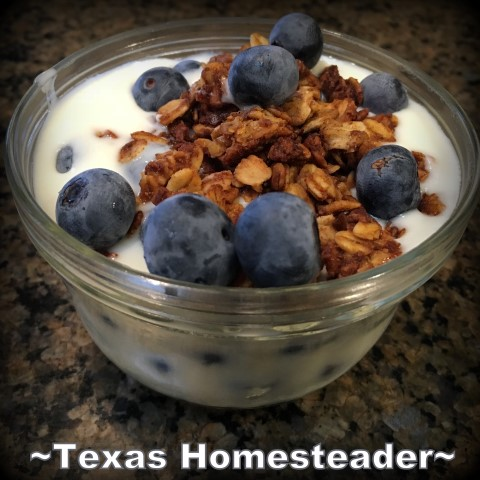 Yogurt, granola, blueberries, parfait. Instant Pot Yogurt - so easy! I'm sharing step-by-step instructions with photos to make your own creamy yogurt. #TexasHomesteader