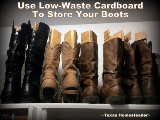 My boots slouched over and fell from the shelf, I needed a low-waste to keep them neat and organized. I used cardboard and it works great #TexasHomesteader