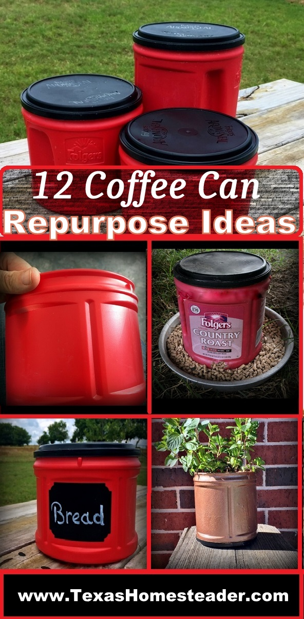 Come see different ways I've been able to repurpose coffee canisters when they're empty. They're handy for so many things. Chicken feeder, planter, bread box, flour canister, garden irrigation, eco bricks & more.  #TexasHomesteader