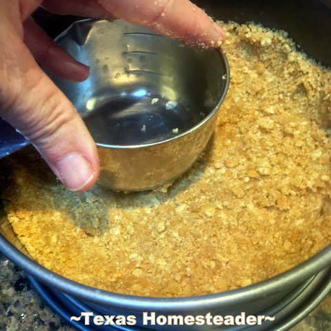 Make graham cracker crust. Making Instant Pot Cheesecake turns a finicky dessert into pure simplicity. Come see this easy cheesecake recipe cooked in an Instant Pot. #TexasHomesteader