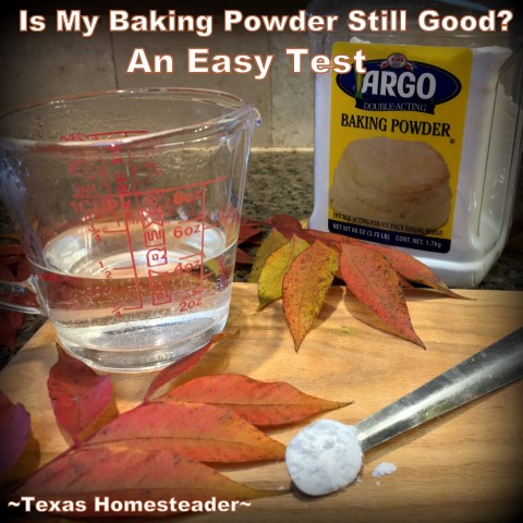 Do you wonder if that container of baking powder is still good? Here's a quick & easy test to show you whether it's safe to use or you should throw it out. #TexasHomesteader
