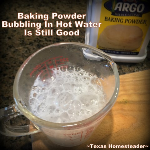 Do you wonder if that container of baking powder is still good? Here's a quick & easy test to show you whether it's safe to use or you should throw it out. This baking powder is still good. #TexasHomesteader